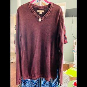 Decree med burgundy faded color long sleeve top